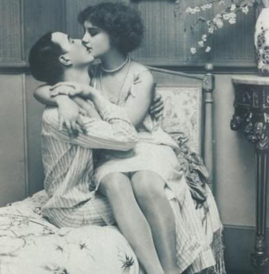 Romance and kiss in bedroom