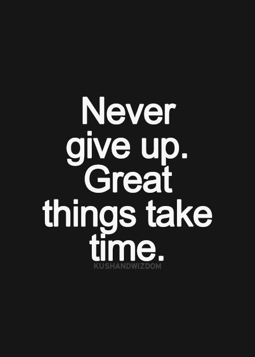 Never give up great things take time